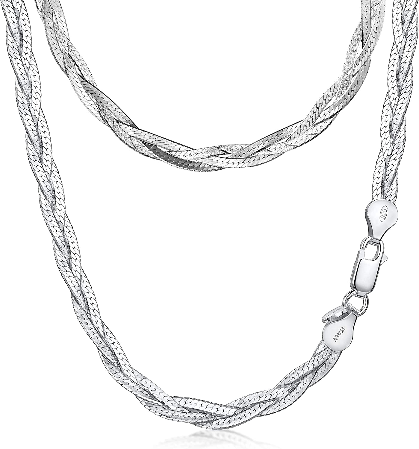 Sterling Silver Herringbone Necklace And Sterling Silver Bracelet Braided Sterling Silver Necklace And Bracelet Set Sterling Silver
