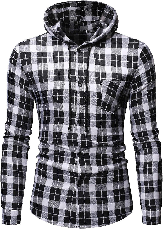 Zimaes-Men Plaid Slim Fitted Fashion Button Hood Long-Sleeve Western Shirt