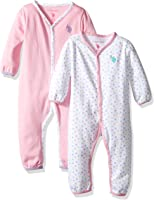 U.S. Polo Assn. Baby Girls' 2 Pack Long Sleeve Sleepers Or Play Rompers