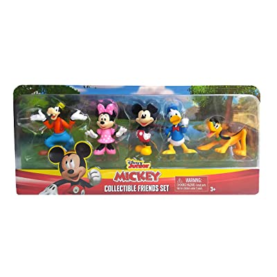 Disney Junior Mickey Mouse Collectible Friends Set - 5 Figures Including Mickey, Minnie, Donald, Goofy, and Pluto: Toys & Games
