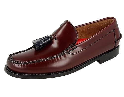 KERRIMAN Castellanos Hombre Burdeos con BORLAS Azules: Amazon.es: Zapatos y complementos
