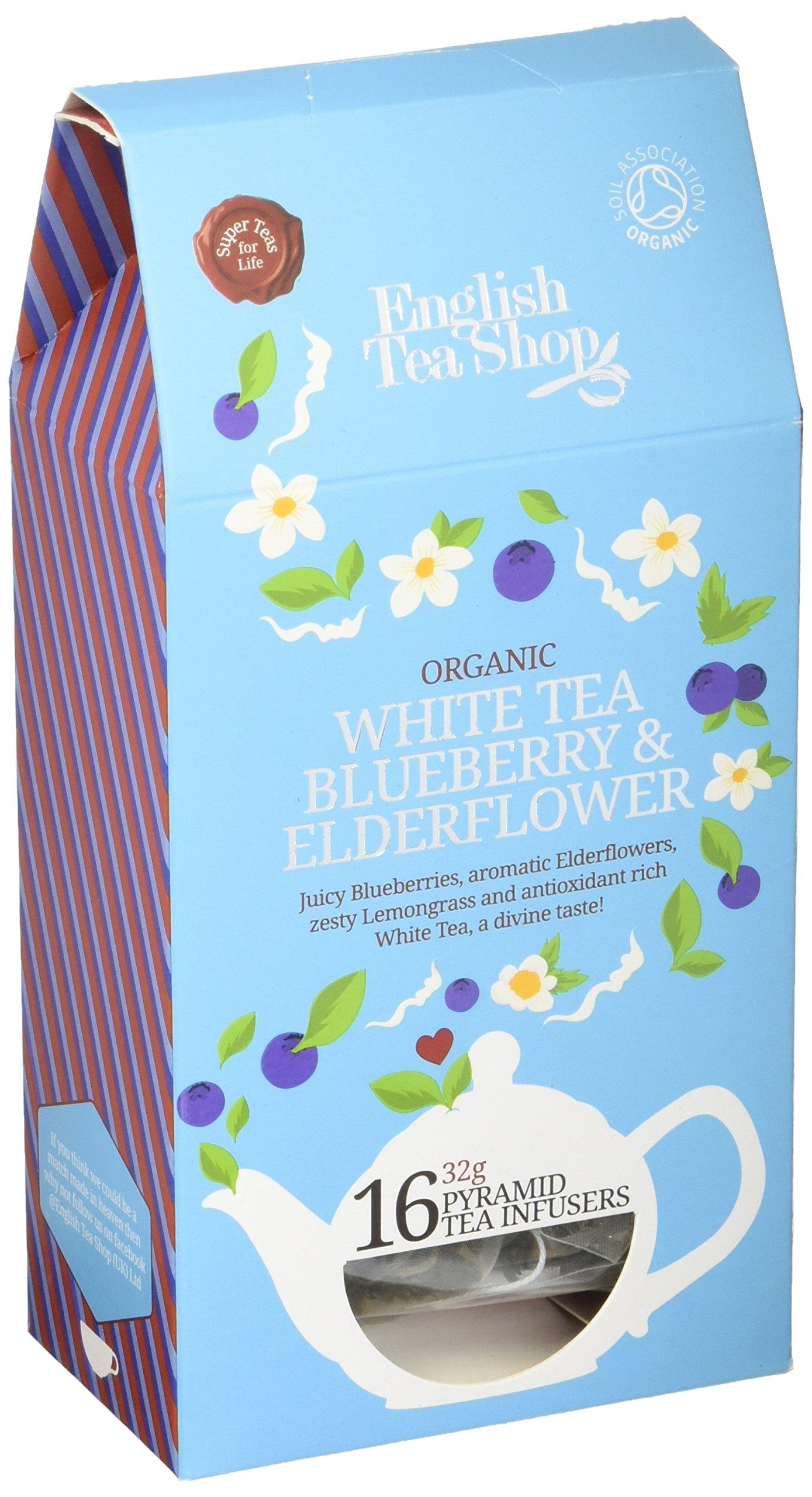 English Tea Shop White Tea Blueberry & Elderflower Pyramids, 32 Gram (Pack of 6)