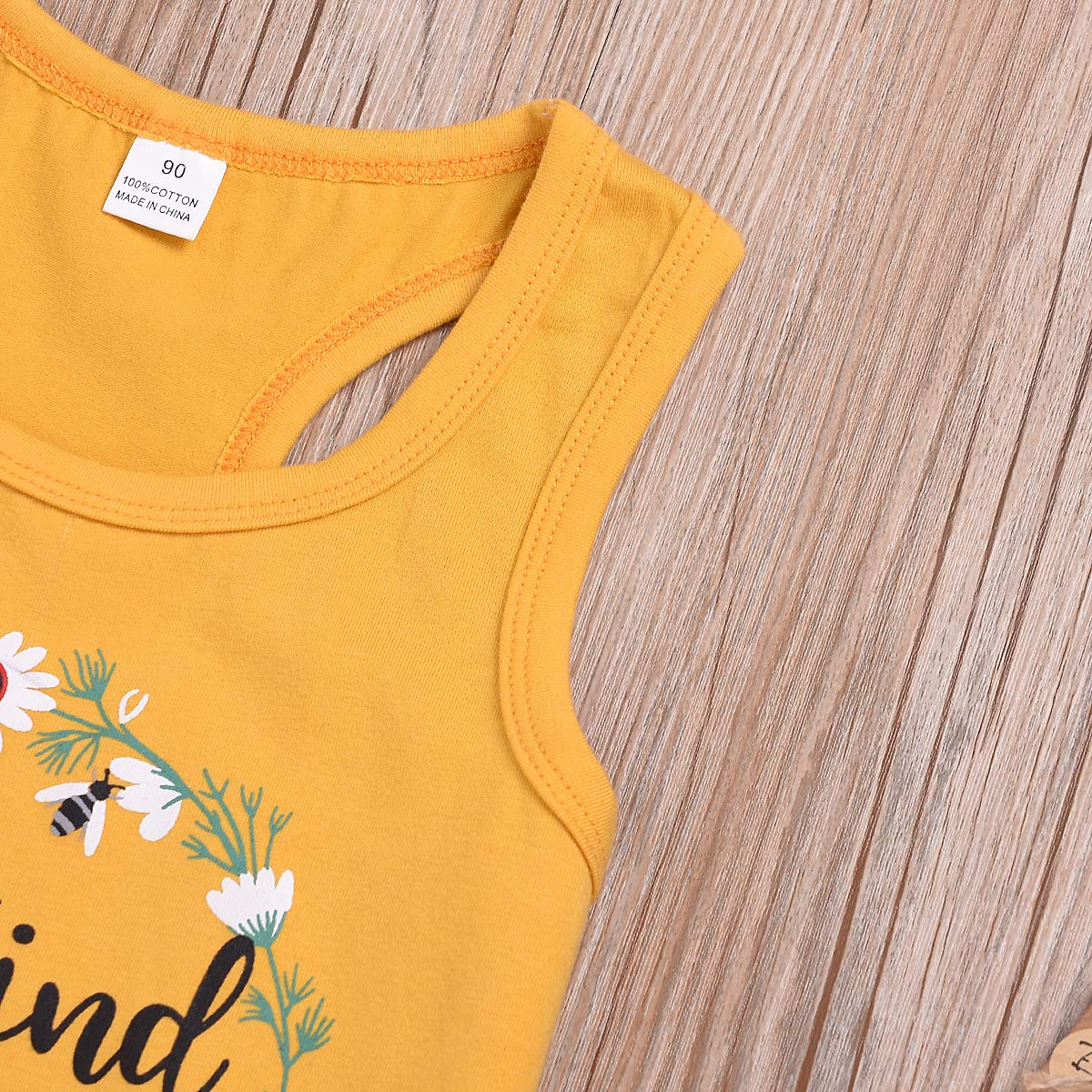 Toddler Girls Sunflower Tank Vest Sleeveless Top Denim Shorts Summer Clothing Set 2pcs 0-7Y