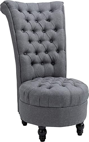 HOMCOM Retro High Back Armless Chair Living Room Furniture Linen-Touch Fabric Upholstered Tufted Royal Accent Seat