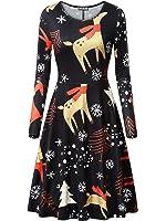 KIRA Womens Christmas Dress Long Sleeve Casual Aline Party Dress