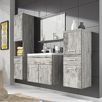 Armario de baño Alba 60 cm lavabo gris, pino de cañón; mueble de ...