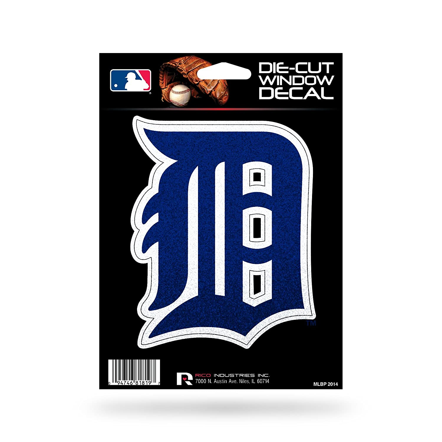 One Size Rico Industries MLB Detroit Tigers DecalDecal 5x5 Die Cut Bling Team Colors