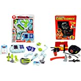 Pretend Play Fireman & Doctor Kit Bundle - Play Set Toddler Toys Boys and Girls   Montessori Dramatic Play Dr & Fireman Dress Up Games   Sounds & Lights Medical Equipment and Fire Tools and Supplies