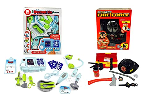 Pretend Play Fireman Doctor Kit Bundle Play Set Toddler Toys Boys And Girls Montessori Dramatic Play Dr Fireman Dress Up Games Sounds