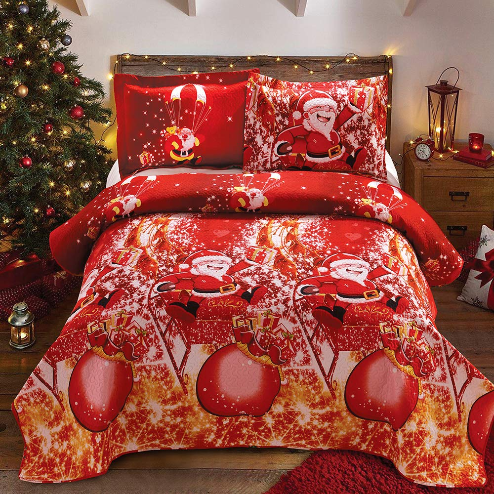 "Christmas Bedding Santa Claus 3pc Queen Quilts 90"" x90"" Christmas Decor lightweight Reversible Quilt Blanket Bedspread Cartoon Christmas Coverlet Festival Gift New Year Bedding 2 Pillowcase 20"" x26"""