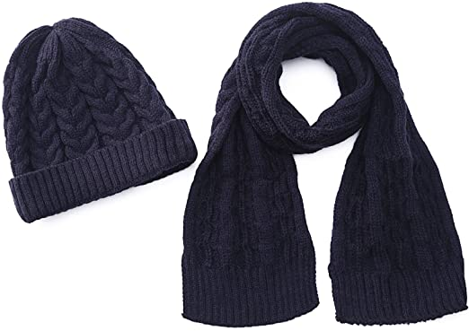 26e22beae71 Amazon.com  Kids Scarf Set Knit Caps for Girls Boys Winter Warm Beanies  With Scarves Navy  Clothing