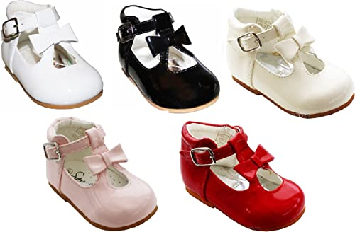 BABY TODDLER GIRL SPANISH PATENT T BAR BOW WALKING PARTY WEDDING DRESS SHOES
