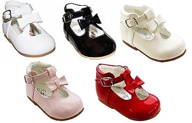 timeless design 4f35c 5118e Schuhe für Mädchen, Kleinkinder, glänzend, Lackschuhe, mit Schleife, in  spanischem Stil, Weiß/Schwarz/Creme/Pink/Rot, für Party, Hochzeit,  rutschfeste ...