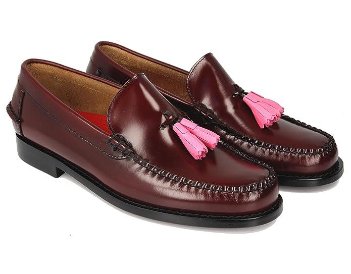 KERRIMAN Castellanos Hombre Burdeos con BORLAS Rosa: Amazon.es: Zapatos y complementos