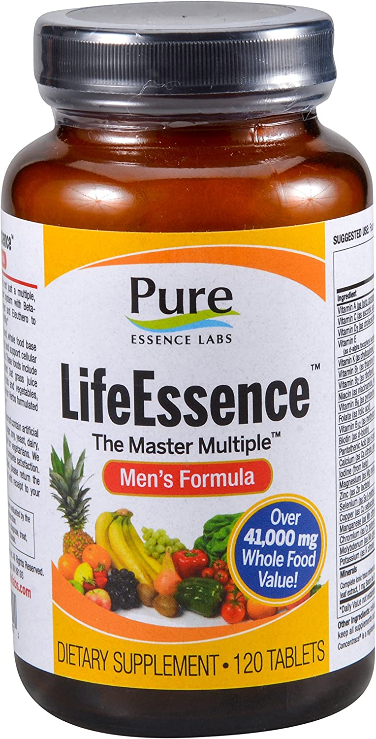 Pure Essence Labs LifeEssence Mens Formula – World s Most Energetic Multiple – The Master Multiple – 120 Tablets