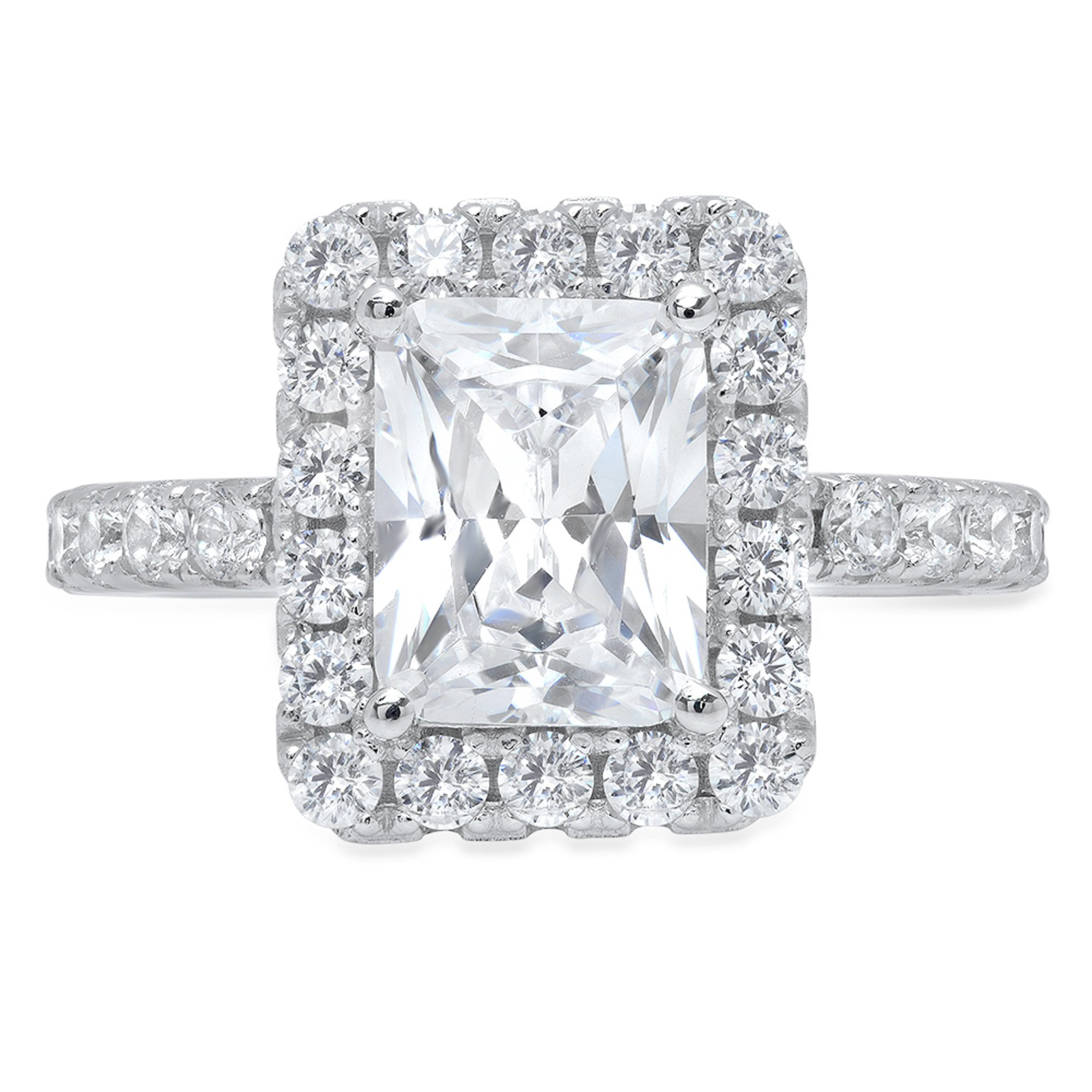 Clara Pucci 3.8ct Brilliant Emerald Round Cut Solitaire Halo Statement Wedding Anniversary Engagement Promise Ring 14k Solid White Gold, 6.5 by Clara Pucci