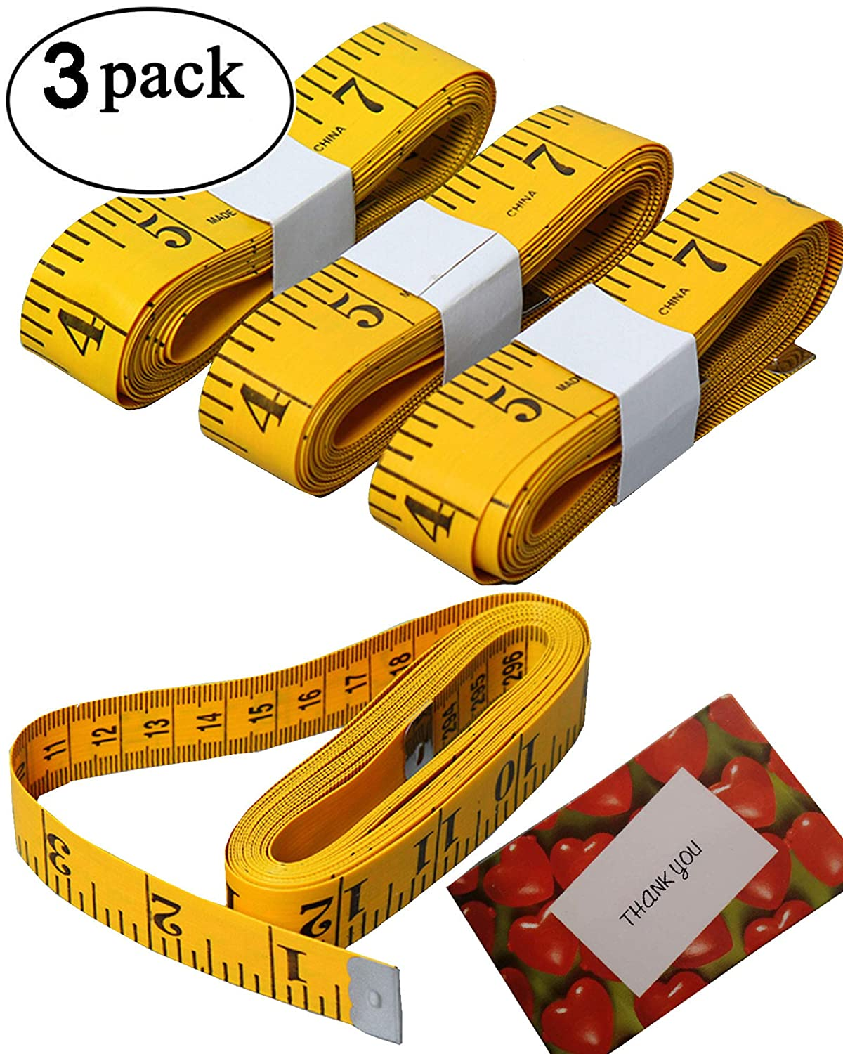 BSLINO bb-134-ruler 3 Piece Double-Scale Soft Tape Measuring Weight Loss Medical Body Measurement Sewing Tailor Cloth Dressmaker Flexible Ruler, Heavy Duty Tape 2