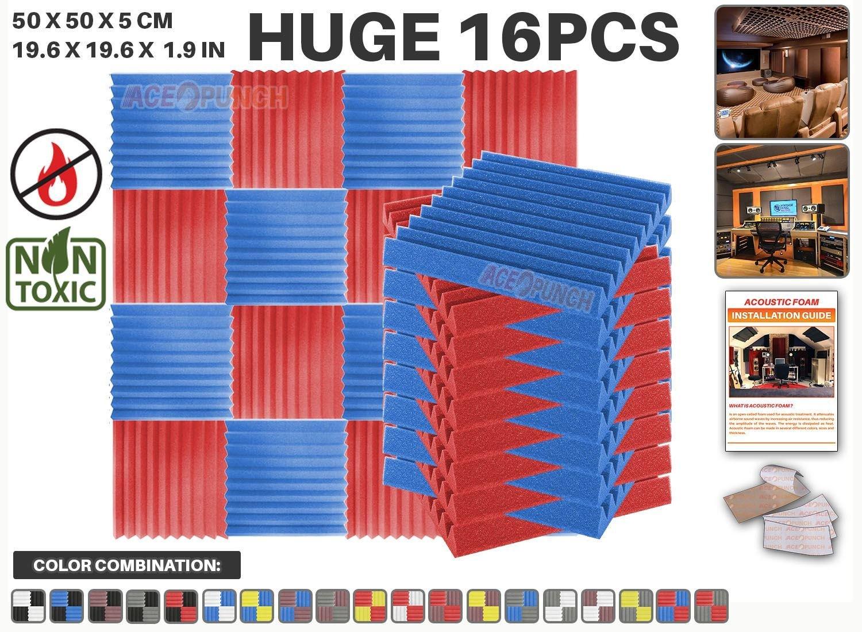 Ace Punch 16 Stücke ROT UND SCHWARZ Kombination Keil Akustikschaumstoff Schallschutzisolierung Studio Fliesen Mit freien Klebestreifen 50 x 50 x 5 cm AP1134