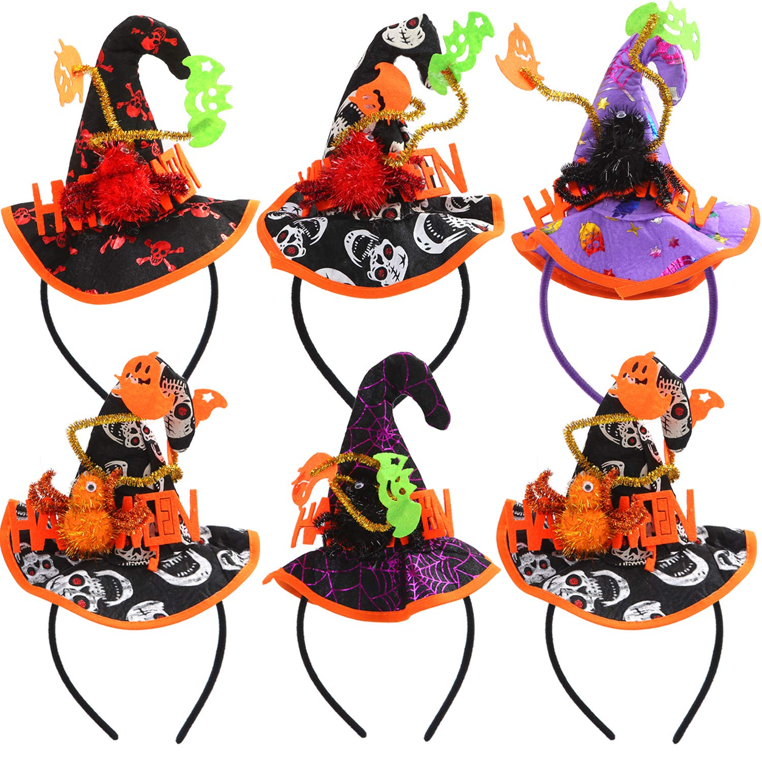 Elcoho 6 Pack Halloween Headbands Witch Hat Headband Halloween Party Witch Spider Hat Headbands Boppers for Halloween Costume Supplies by Elcoho