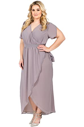 Standards & Practices Plus Size Womens Grey Mauve Short Sleeve V-Neck Maxi  Dress
