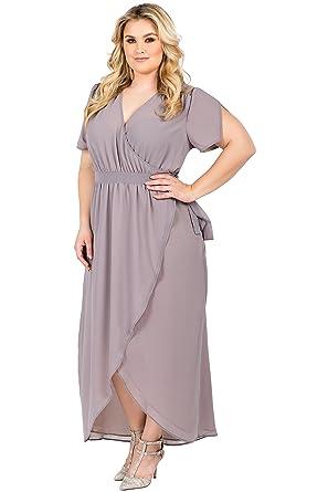 a4be28d0cd9 Standards   Practices Plus Size Womens Grey Mauve Short Sleeve V-Neck Maxi  Dress Size
