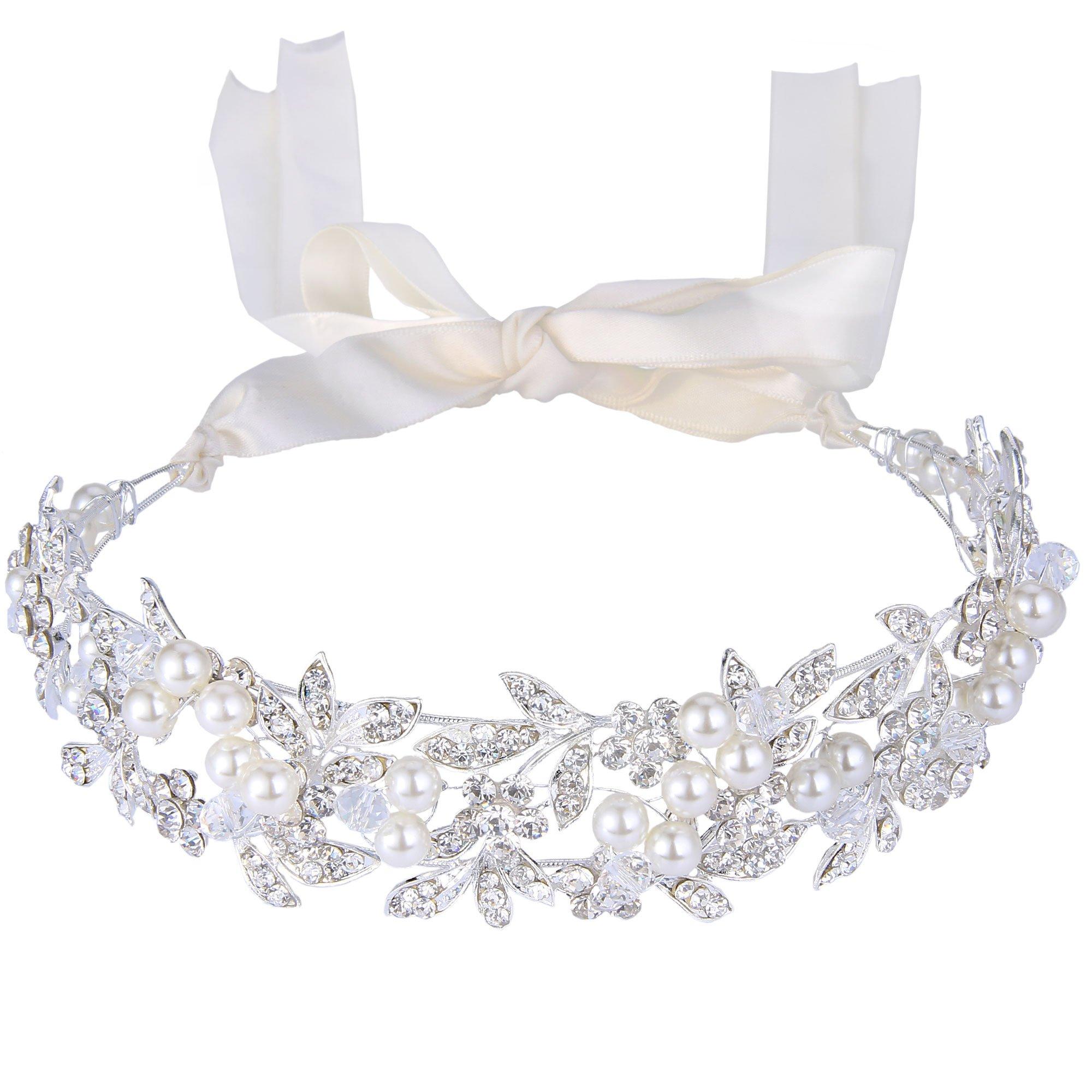 BriLove Wedding Hair Accessories Bridal Headband for Women Bohemian Crystal Ivory Color Simulated Pearl Bib Ribbon Tie Bendable Headband Clear Silver-Tone