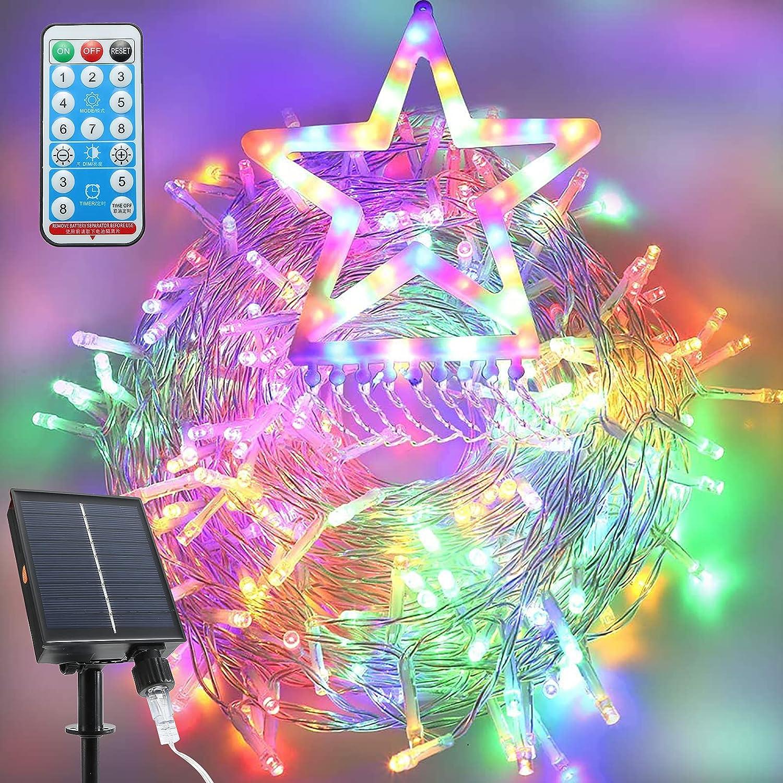 OKURA Solar Christmas Decorations Outdoor Star Lights, 320 LED Curtain String Lights, 8 Lighting Modes Hanging Christmas Star Lights with 14