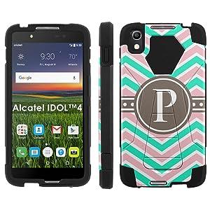Alcatel One Touch IDOL 4 [Nitro 4/49] Phone Cover, Chevron Monogram P - Black Hexo Hybrid Armor Phone Case for Alcatel One Touch IDOL 4 [Nitro 4/49]