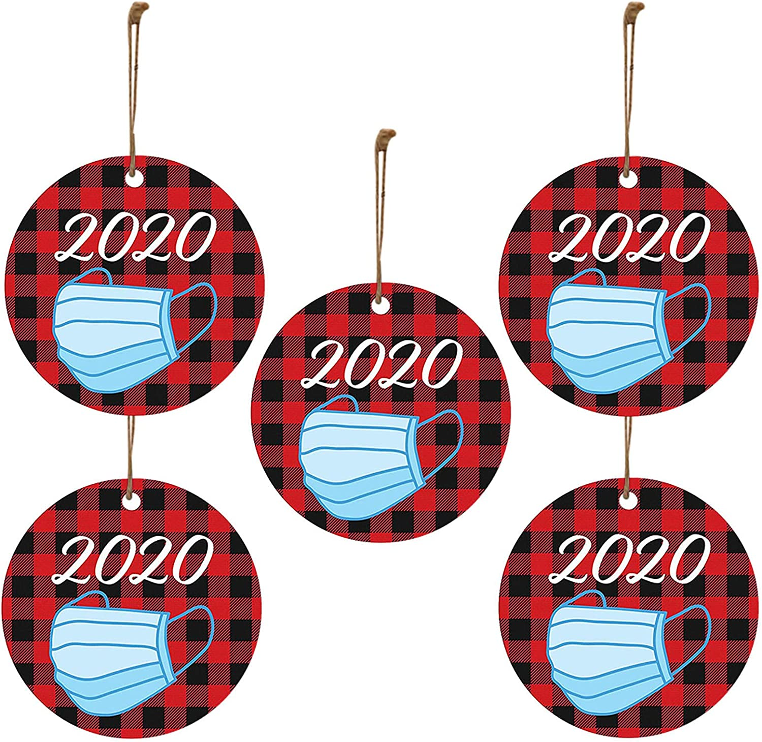 GBSELL Christmas Decorations, Christmas Ornaments 2020, Santa Claus Ornaments for Christmas Tree, Wood Decorative Hanging Ornaments, Gift Wrap Decor (5PCS, E)