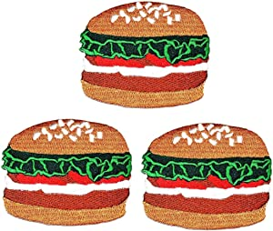 Umama Patch Set of 3 Vegetable Hamburger Burger Iron On Sew On Applique Patches Cute Hamburger Pork Fast Food Cartoon Embroidered Badge Patch Decorative Repair Craft Costume or Reward Gift
