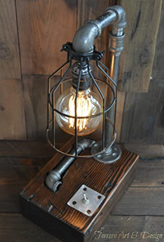 steampunk desk lamp lighting rustic light industrial decor pipe lamp pipes edison bulb vintage