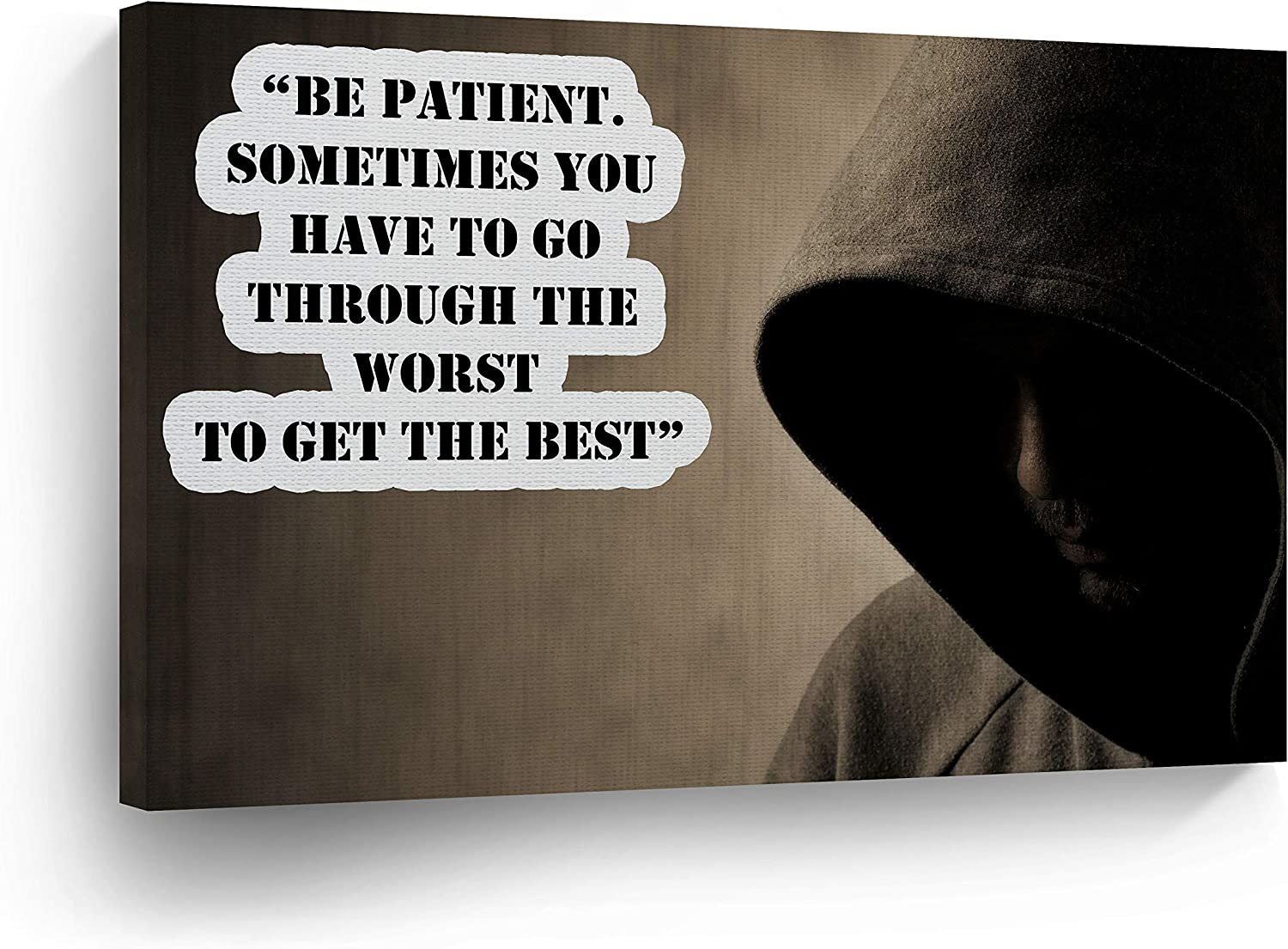 `Be Patient Sometimes You Have To Go Through The Wors To Get Best` Quote CANVAS PRINT Motivational Wall Art Saying Home Decor Artwork Gallery Stretch Ready to Hang - %100 Handmade in the USA - 30x40