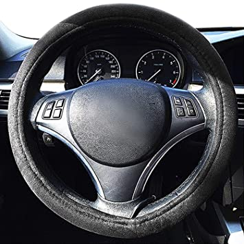 Zone Tech Car Steering Wheel 12V Heated Cover - Classic Black Premium  Quality Ultra Comfortable 12V Vehicle Heated Wheel Protector
