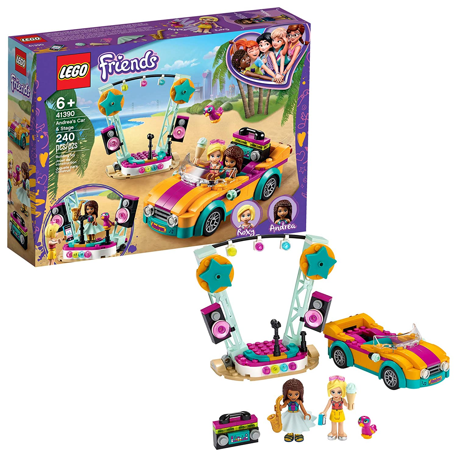 LEGO Friends Andrea's Car & Stage Playset 41390 Building Kit, Includes a Toy Car and a Toy Bird, New 2020 (240 Pieces)