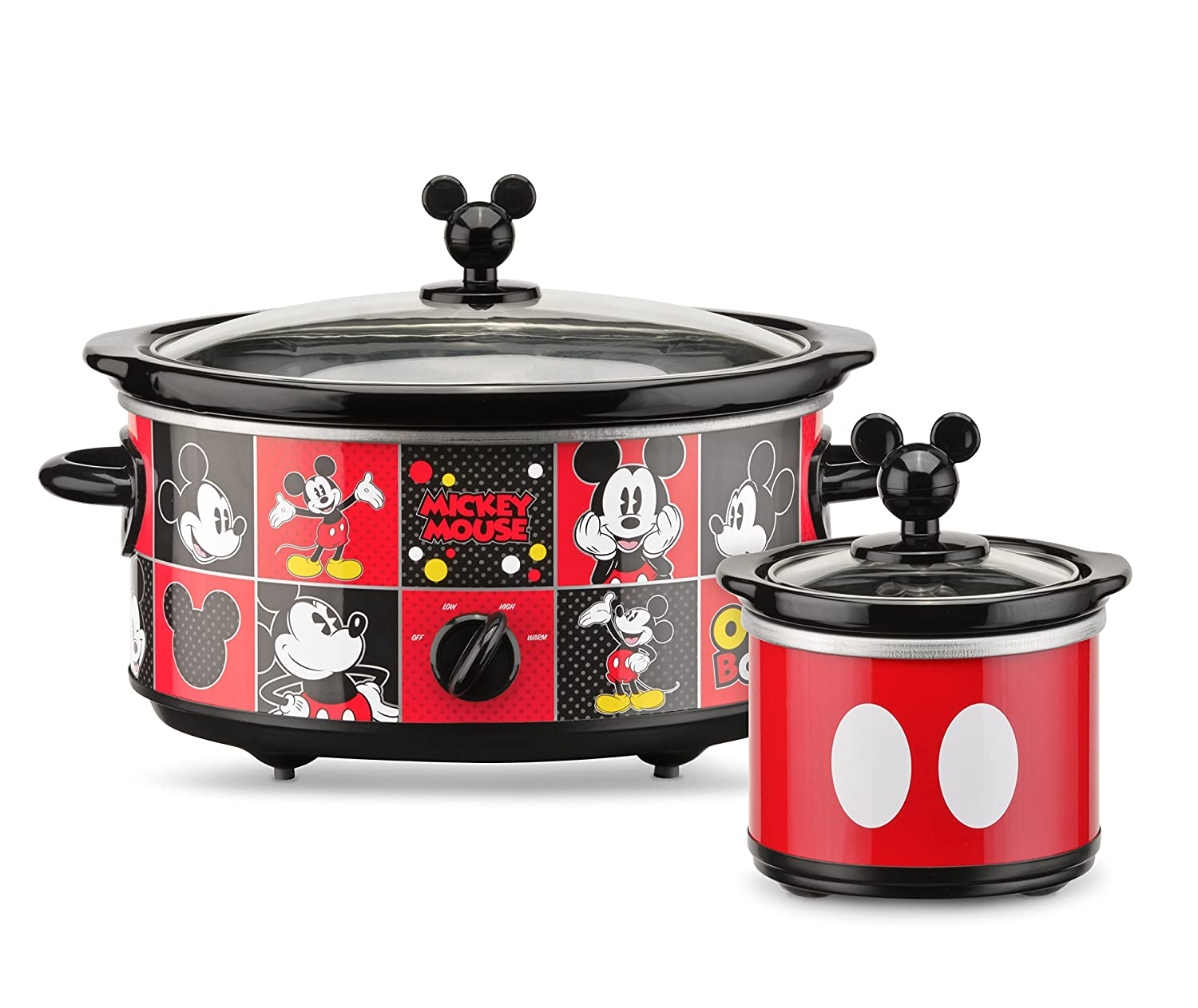 Disney DCM-502 Mickey Mouse Oval Slow Cooker with 20-Ounce Dipper, 5-Quart, Red/Black Select Brands Inc