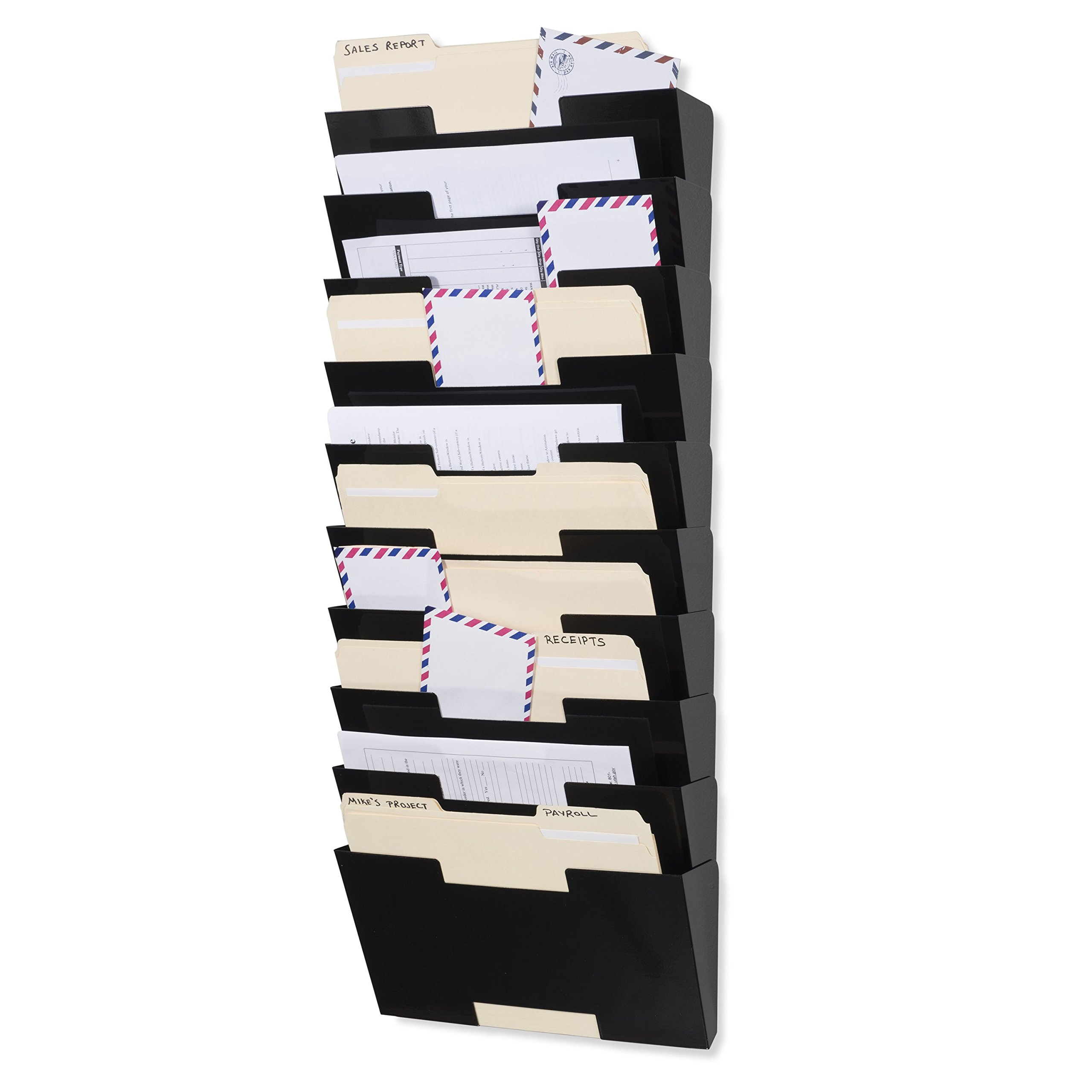 Wallniture Lisbon Black Wall Mounted Steel File Holder - Organizer Rack 10 Sectional Modular Design Letter Size 13 Inch - Multi-purpose Organizer Display Magazines - Sort Files and Folders