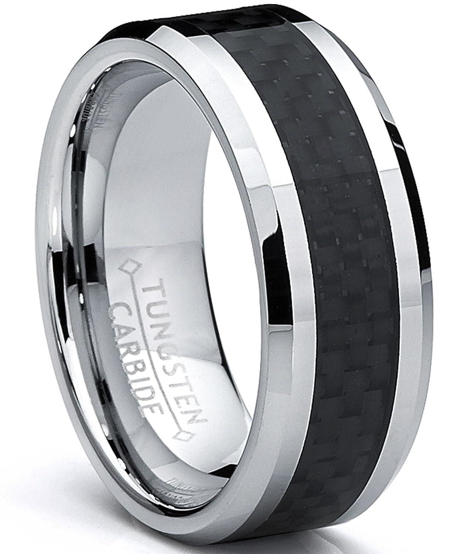 Ultimate Metals Co. 8MM Bague de Mariage Tungstene Avec Fibre De Carbone Noir