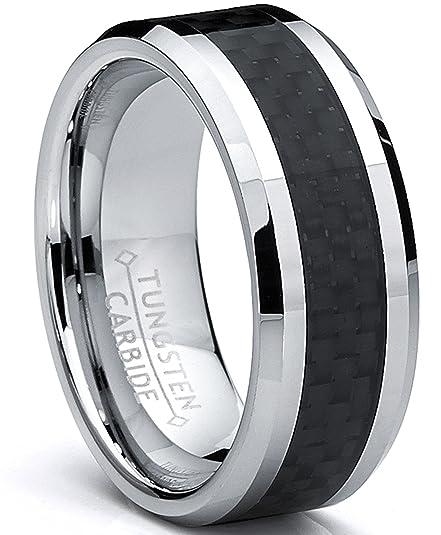 Ultimate Metals Anillo Tungsteno Para Hombre, Banda de Boda con Fibra de Carbono Negro 8MM