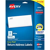 """Avery Return Address Labels with Sure Feed for Inkjet Printers, 2/3"""" x 1-3/4"""", 1,500 Labels, Permanent Adhesive (8195), White"""