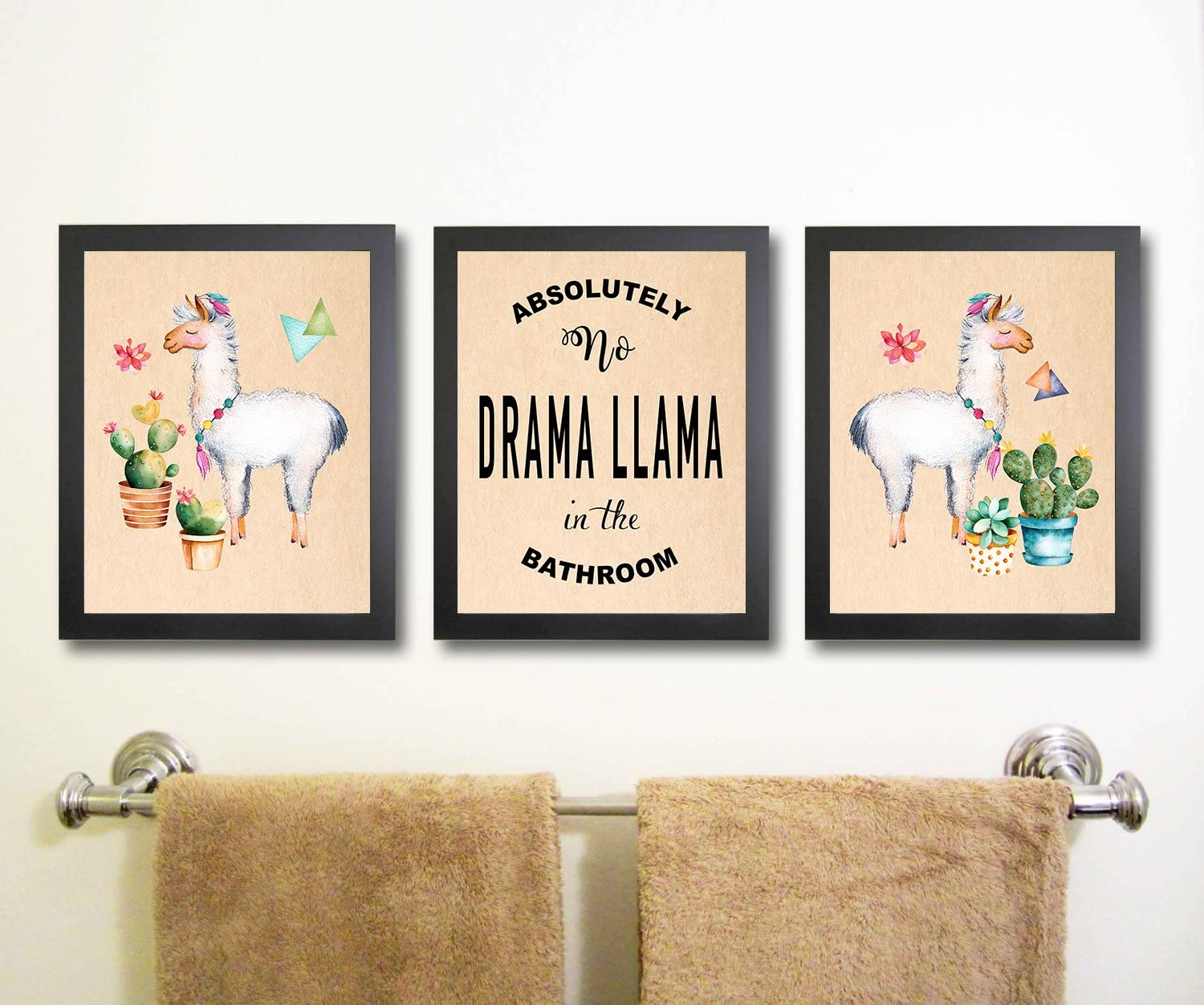Silly Goose Gifts Llama Themed Bathroom Wall Art Print Decoration (Set of 3) (Llama Drama)