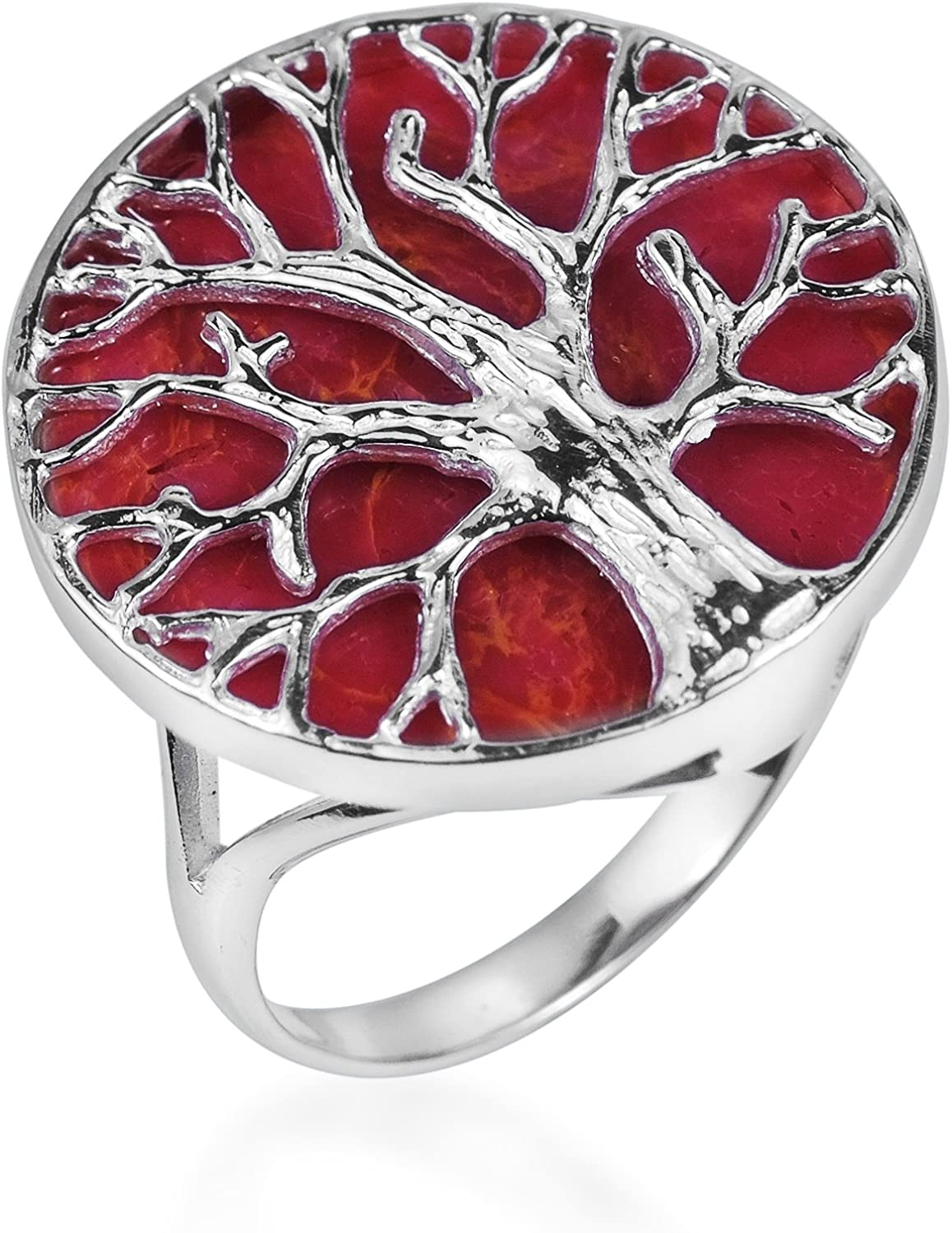 925 Sterling Silver Coral Inlay Marcasite Ring Size 5-9