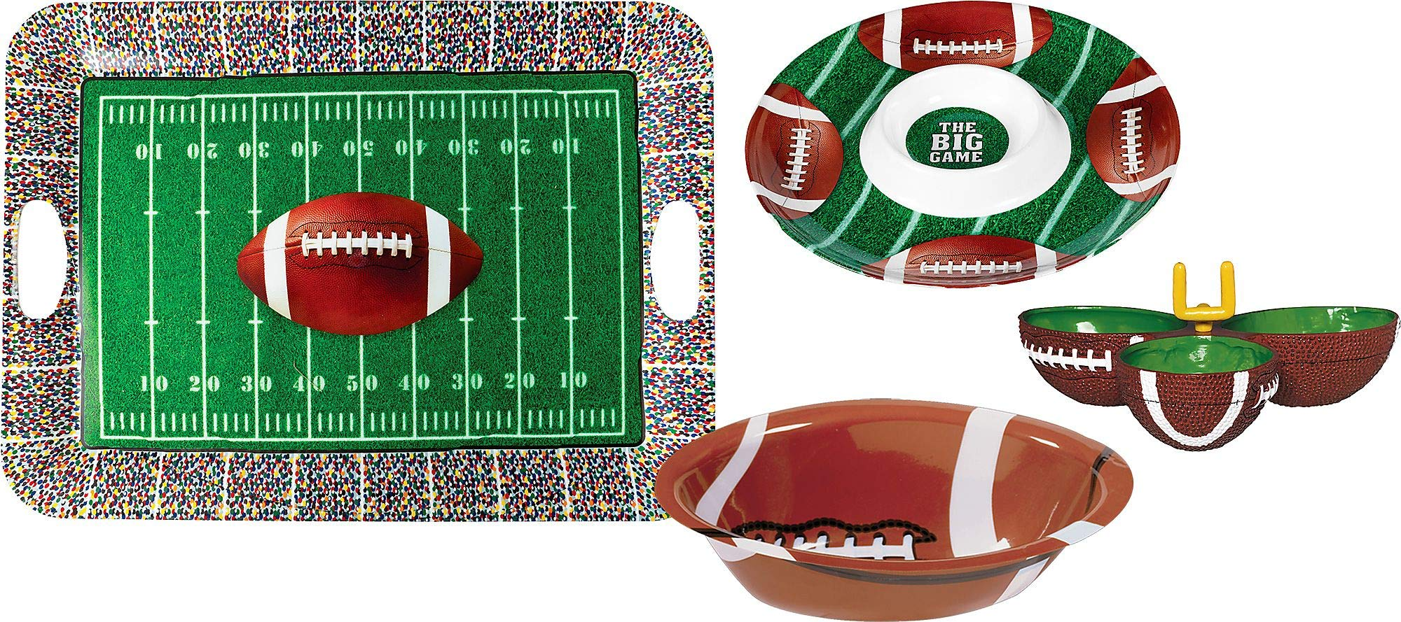 Party City Football Serveware Supplies, Include a Serving Tray, a Chip and Dip Tray, a Serving Bowl, and Condiment Dish