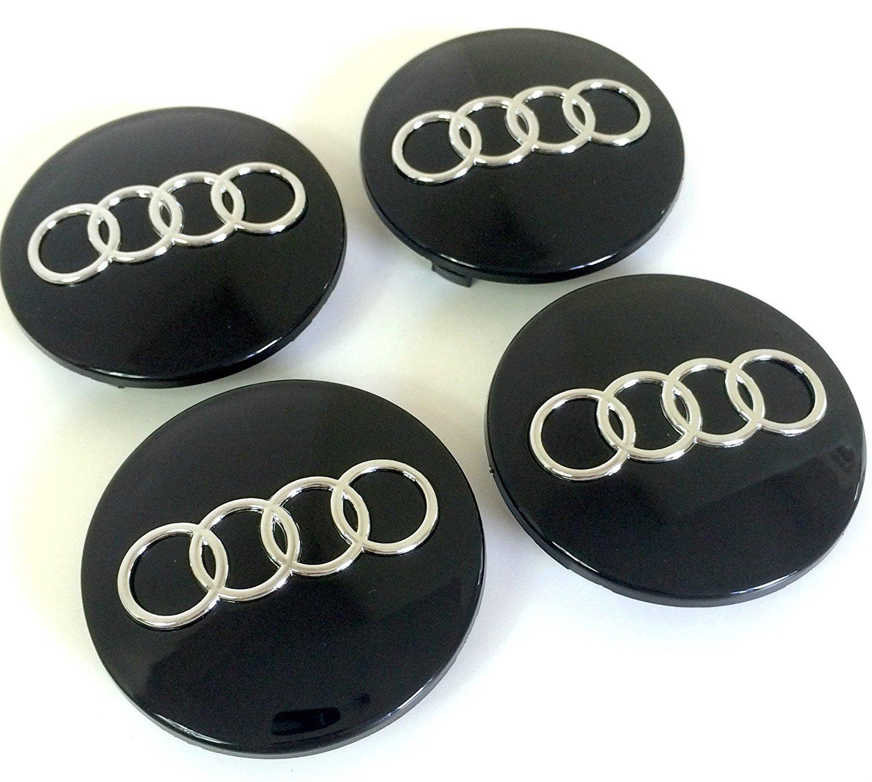 Set de quatre Jantes en aluminium au milieu Moyeu Capuchons Noir de couverture insigne 68mm 8d0601170compatible avec Audi Q3A3A4A5A6A7A7A4S5S5