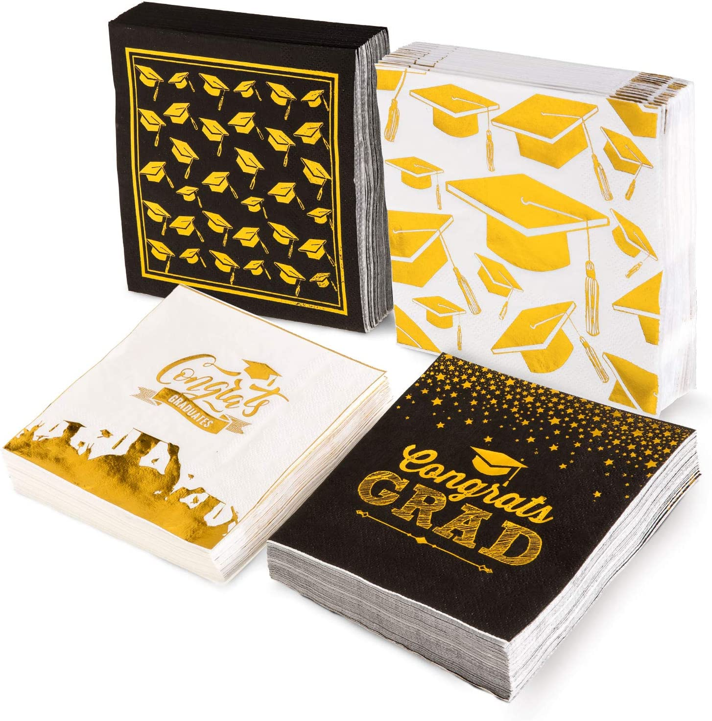 Whaline 120 Sheet Graduation Party Napkins, Gold Foil Printed Disposable Cocktail Napkins, Congrats Grad Paper Napkins for Grad Dinner Tea Party Supplies, Black and White, Folded 5 x 5 Inches