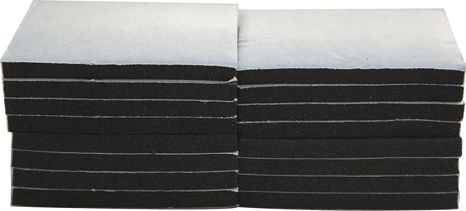 """XCEL Foam Rubber Padding 16-Piece Acoustic Damper Anti-Vibration Closed-Cell Pads w/Adhesive, 3""""x3""""x1/4"""""""
