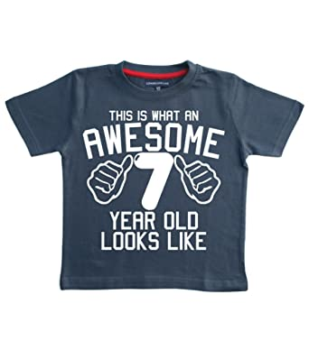 This What AN Awesome 7 Year Old Looks Like Navy Boys 7th Birthday T Shirt In Size 8 Years With A White Print Amazoncouk Clothing