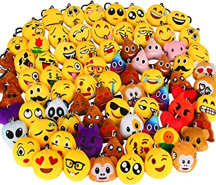 Amazon Com Dreampark 80 Pack Mini Emotion Keychain Plush Party Favors For Kids Christmas Birthday Party Supplies Emoticon Gifts Toys Carnival Prizes For Kids 2 Set Of 80 Toys Games