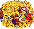 """Dreampark 80 Pack Mini Emoji Keychain Plush, Party Favors for Kids, Halloween / Birthday Party Supplies, Emoticon Gifts Toys Carnival Prizes for Kids 2"""" Set of 80"""