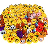 Dreampark 80 Pack Mini Emoji Keychain Plush, Party Favors for Kids, Halloween / Birthday Party Supplies, Emoticon Gifts…