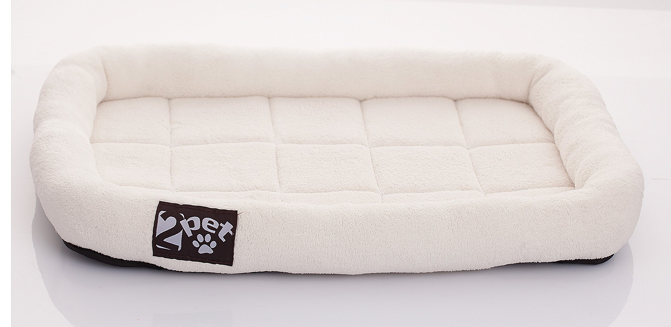 2PET Soft Padded Fleece Pet Bed by Cushy Bed All Season Crate Pad for Your Pet's Comfort Double Fleece Filling for Better Cushioning Waterproof, Easy to Clean Sturdy Border for Head Support 32''x22''